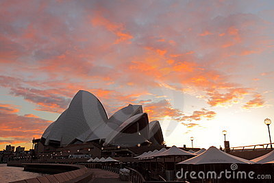 Sunrise in Sydney at the Opera House Editorial Stock Image