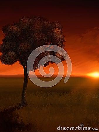 Sunrise Tree - Digital Painting