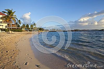 Sunrise at a tropical beach in the Caribbean