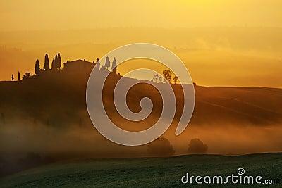 Sunrise Tuscany landscape