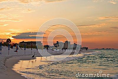 Sunrise under atlantic ocean coast