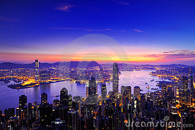 Sunrise of Victoria Harbour , Hong Kong