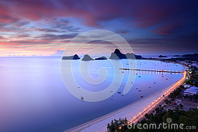 Sunrise view of Ao Manao bay in Thailand