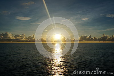 Sunrise view on the middle of sea