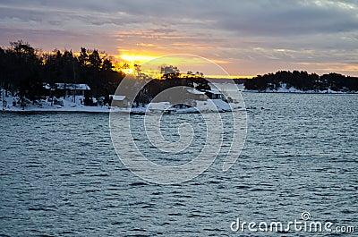 Finland - Sunrise and winter landscape