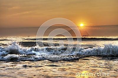Sunrise at Yilan Taiwan, looking at Guishan Island