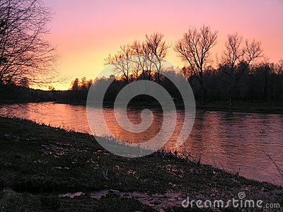 Sunset above the river.