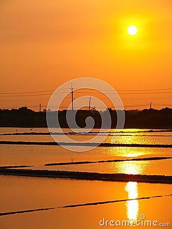 Sunset above the Salt Pan in Tainan, Taiwan