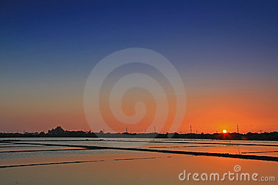 Sunset above the Salt Pan in Tainan, Taiwan