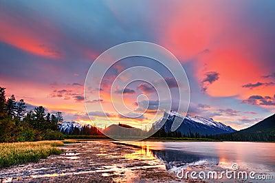 Sunset above Vermilion Lakes, Banff National Park