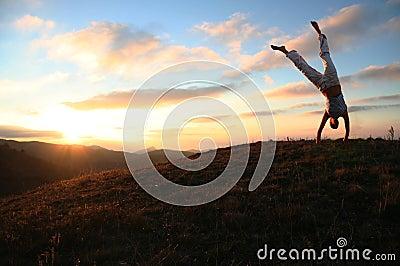 Sunset acrobat