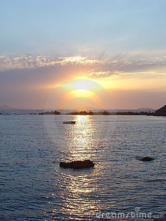 Sunset in Aegean sea