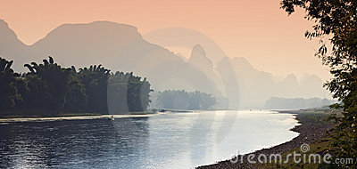 Sunset along the Li River