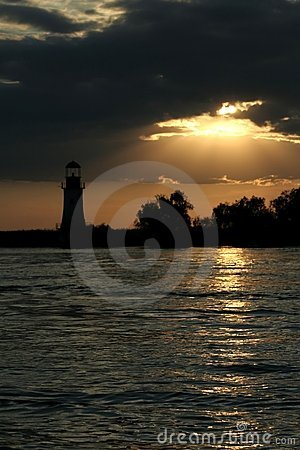 Free Sunset And Lighthouse Stock Photography - 1084242