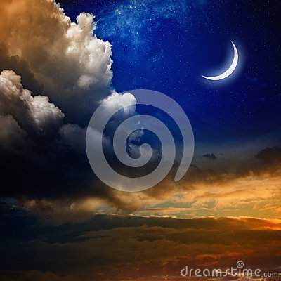 Free Sunset And New Moon Stock Images - 49705144