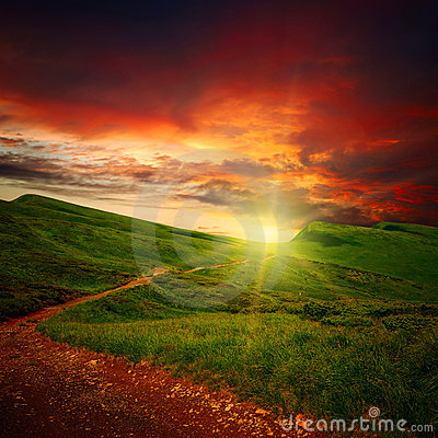 Free Sunset And Path Through A Meadow Stock Photo - 21063970