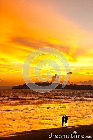 Sunset at Ao Nang beach, south of Thailand