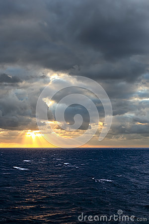 View of sunset in Atlantic Ocean