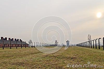 Sunset at Auschwitz Birkenau 2 Editorial Photo
