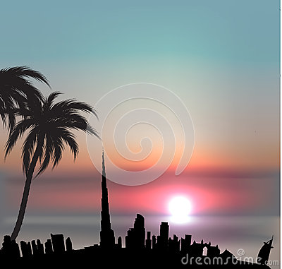 Sunset background with Dubai skyline