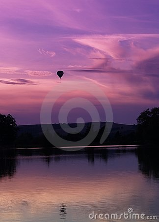 Sunset and baloon