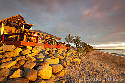 Sunset at a beach bar in Fiji Editorial Stock Photo