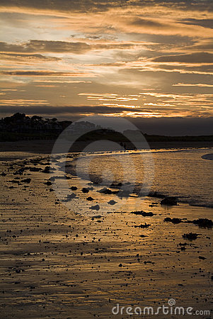 Sunset on beach, North Berwick