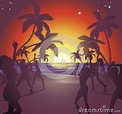 Free Sunset Beach Party Illustration Stock Photos - 19883293