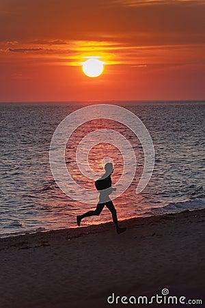 Sunset beach runner