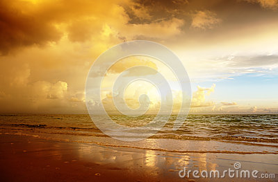 Sunset on the beach of sea