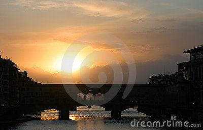 Sunset Behind Ponte Vecchio Bridge Florence Italy