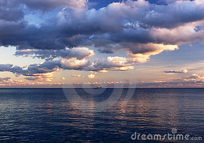 Sunset on Black sea in October