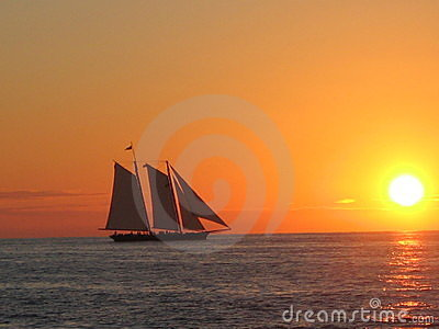 Sunset boat at key west