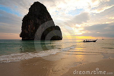 Sunset Boat Railay Beach Thailand Horizontal