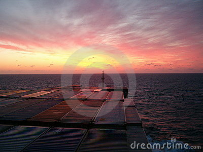 Sunset from bridge of containership