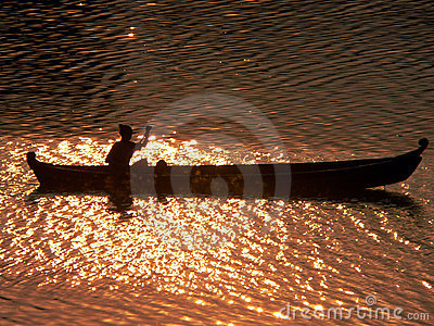 Sunset Canoeist Irrawaddy River