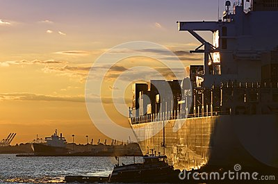 Sunset Cargo-Ship