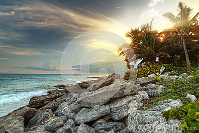 Sunset at Caribbean Sea in Mexico