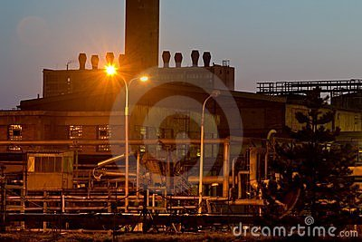 Sunset and chemical plant