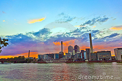 Sunset  with cityview of Frankfurt