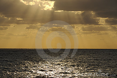 Sunset Cloudburst at Sea