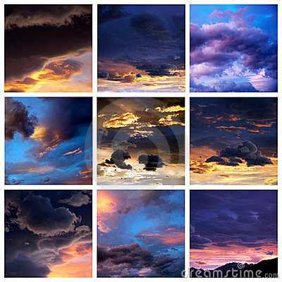 Sunset clouds collage
