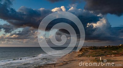 Sunset clouds on Mediterranean beach timelapse stock video footage