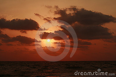 Sunset and cloudscape over sea