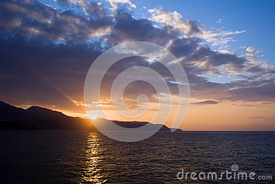 Sunset at Costa del Sol in Spain