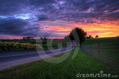 Sunset on a Country Road