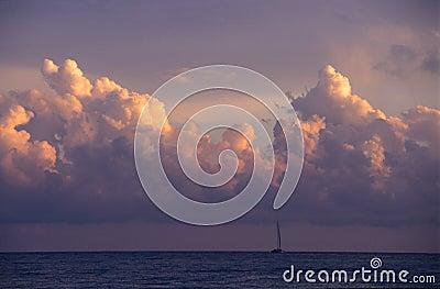 Sunset & cumulus clouds -   Dominican republic