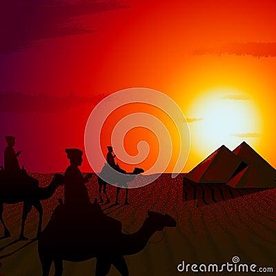 Sunset in Desert
