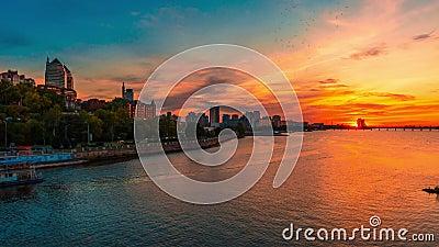 Sunset in Dnepropetrovsk stock video