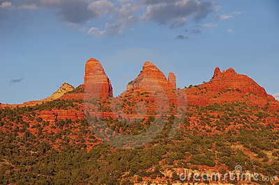 Sunset evening of red rock at Sedona